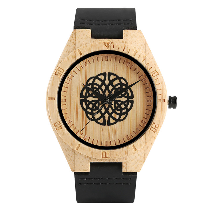 Men Quartz Wrist Watch Nature Wood Genuine Leather Band Strap Creative Bamboo 2018 New Arrival Cool Women Analog Flower Pattern new arrival bamboo men wristwatch classic arabic number dial genuine leather band strap trendy gift quartz watch