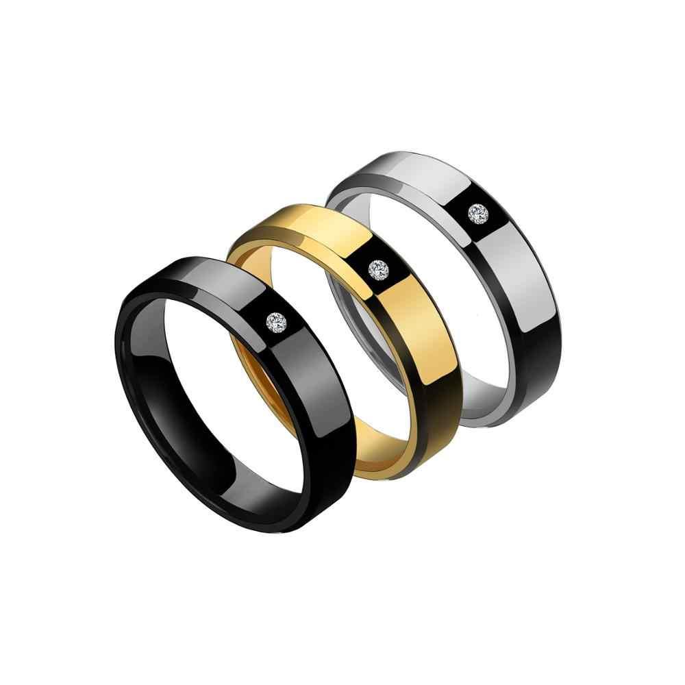 ELSEMODE แหวนไทเทเนียมสีดำ Zircon สำหรับผู้ชายผู้หญิงโรงงานโดยตรง Anti-allergy Lover คู่เรียบงานแต่งงานวงแหวน