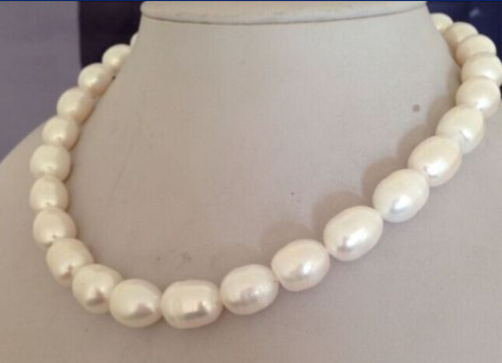 10x10 jewerly free shipping > very beautiful 10 13MM south sea natural white pearl necklace 18inch gold CLASP