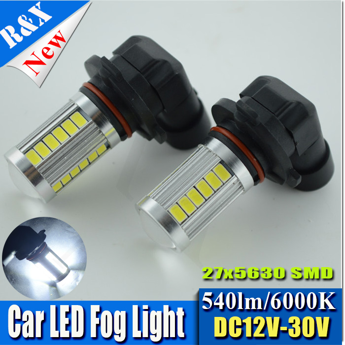 2x New Arrival HB4 9006 27 LED 5630 5730 SMD White Car Auto Light Source Fog DRL Daytime Running Driving Lamp Bulb DC12V 2x car led 9006 hb4 5630 33 smd led fog lamp daytime running light bulb turning parking fog braking bulb white external lights