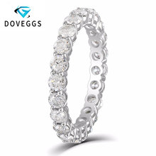 DovEggs 10K White Gold 2.1CTW-2.3CTW 3mm Round Brilliance Moissanite Eternity Wedding Band for Women Fee Shipping