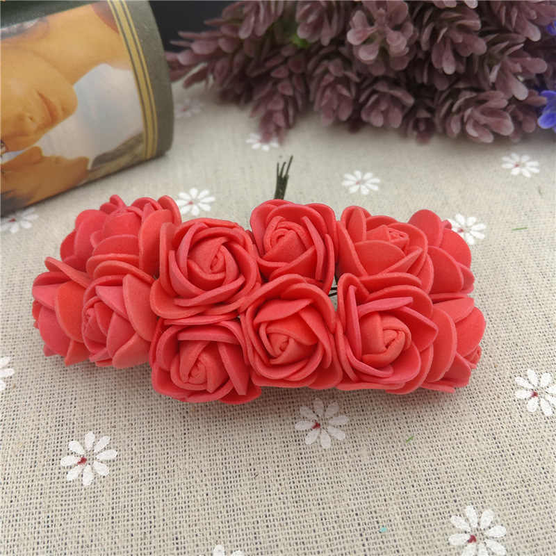 12 sztuk/partia 2cm dekoracyjne miś Rose pianka pe sztuczny bukiet kwiatów do dekoracji ślubnej domu DIY wieniec sztuczny kwiat