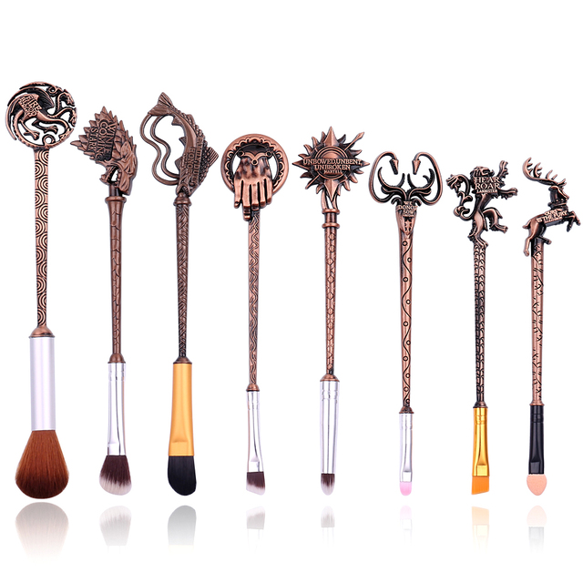 5 Colors Movie Game of Thrones Makeup Brush Set Soft Synthetic Collection Kit with Powder Contour Eyeshadow Eyebrow Lips Brushes 2