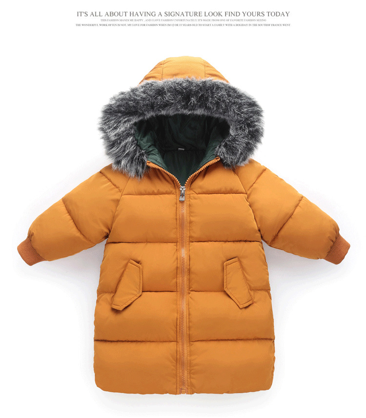 New 2018 Fashion Children Winter Jacket Girl Winter Coat Kids Warm Thick Fur Collar Hooded long parkas Coats For kids 3Y-8Y qimage plus size 4xl winter coats 2017 new women long parkas large fur collar jacket coat female thick warm coat ladies outwear