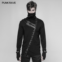 Punk Rave Rock Black Fashion Casual Gothic Steampunk Long Zipper Turtleneck Men's T shirt WT527