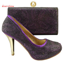 Doershow 2015 Nova vindo Africano sandálias sapatos Italianos e bolsas para combinar, sapatos cor roxa com saco conjunto!! HJZ1-84