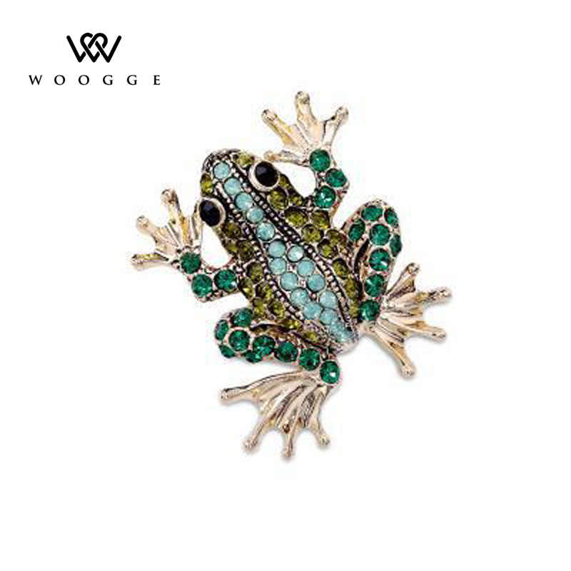 2018 Fashion Jewelry Enamel Pin Crystal Rhinestone Frog Brooch Lapel Pin Men Brooch Broche Vintage Animal Brooches For Women