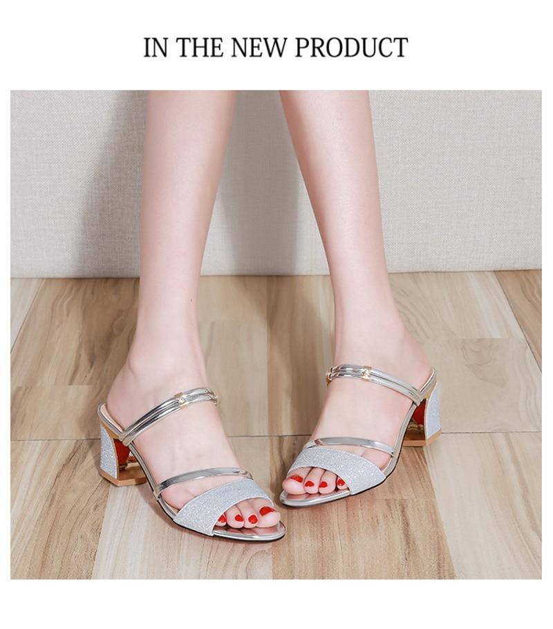 High Heel Sandals Women Shoes Peep toe Square Heels Ladies Sandals 2019 Summer Shoes Woman Fashion Heel 6cm A645