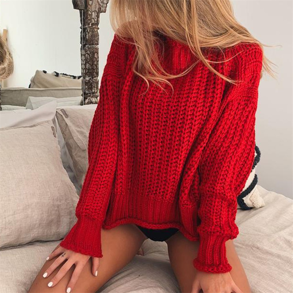 Women Spring and autumn Knitted Tops Soild Pullover Lantern Sleeve O-Neck Tops Sweater Blouse Fashion2019#G6(China)