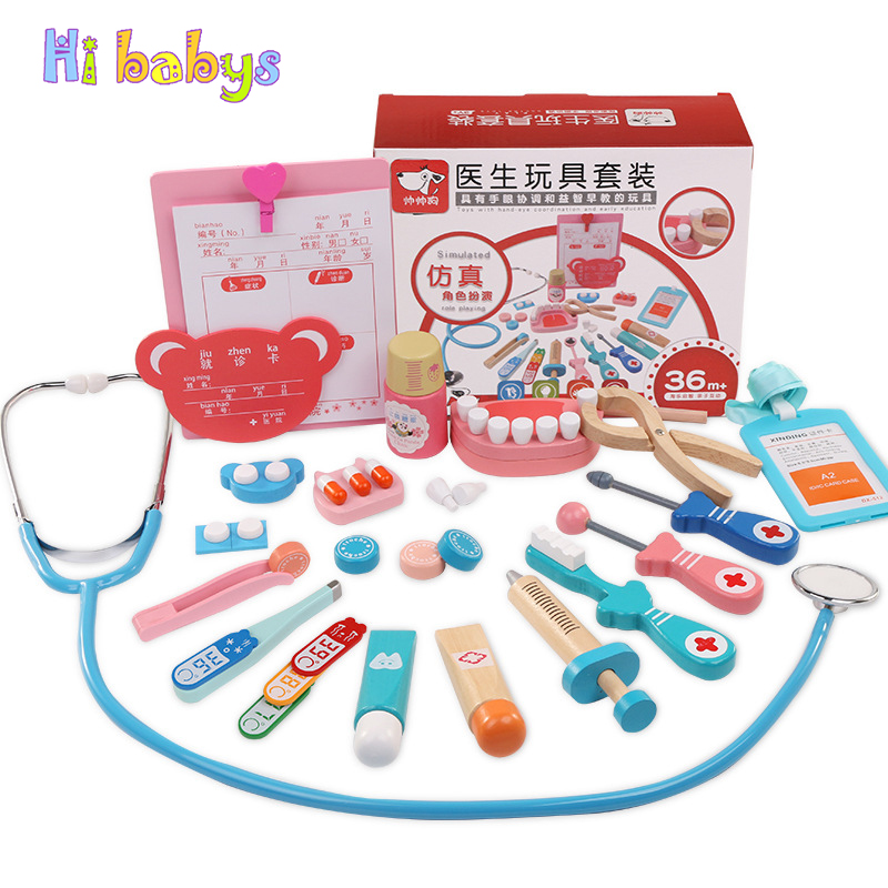 20Pcs Wooden Doctor Set Children Toy Medical Kit Portable Suitcase Medical Set Kids Pretend Play Doctor Toy Simulation Medicine aimy child toy doctor box set doctor play set toy with sound and lightsm138o