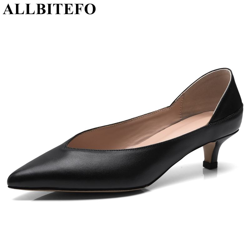 ALLBITEFO genuine leather woman shoes high heel shoes high quality comfortable spring summer fashion ladies girls