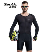 Santic Men Long Sleeve One piece Cycling Jersey Jumpsuits Quick Dry Breathable MTB Bike Reflective Bicycle Sport bodysuit Autumn