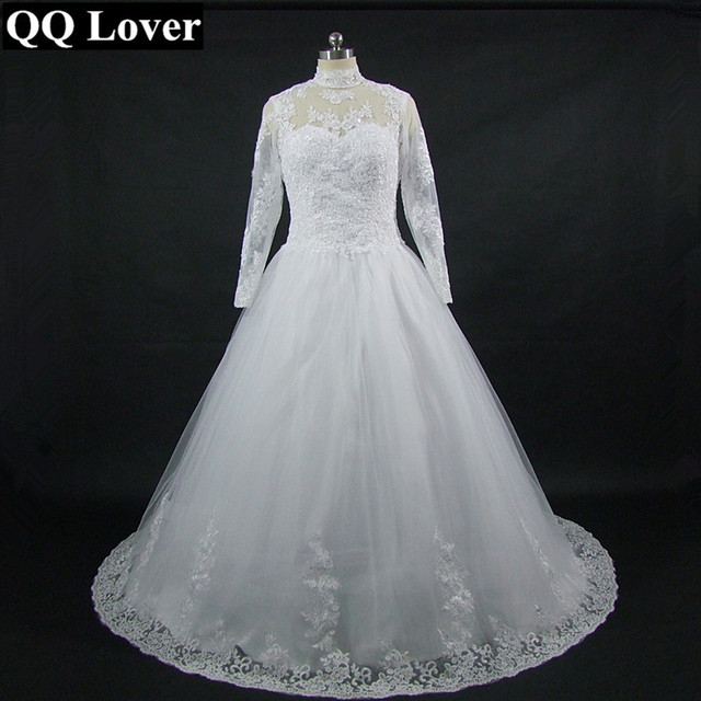 97d641161e07a QQ Lover The Latest Stand Collar Long Sleeves Lace Plus Size Wedding Dress  Custom-made Vestido De Noiva