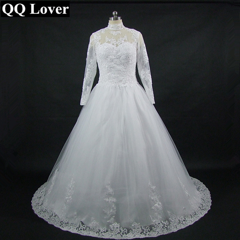 QQ Lover The Latest Stand Collar Long Sleeves Lace Plus Size Wedding Dress Custom made Vestido De Noiva
