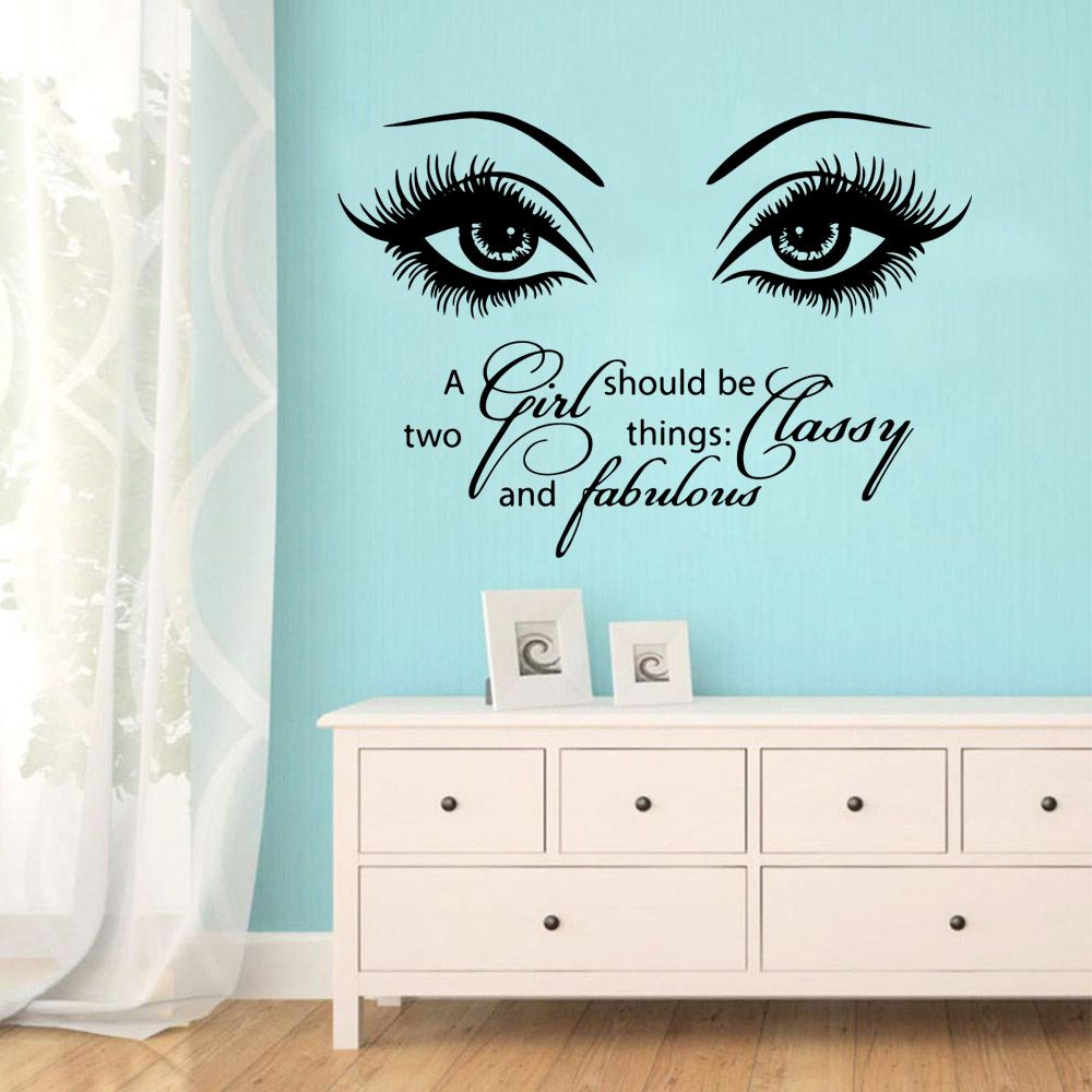 Amusing Beauty eyes Salon Sentence Wall Sticker Home Decoration Accessories For Living Room Bedroom store Removable Stickers
