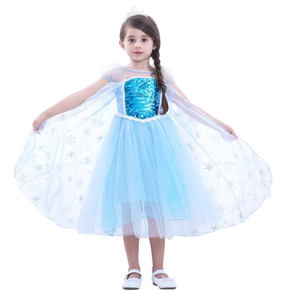 Lovely Elsa Princess Costume Children's Party Princess Cosplay Dress Up Summer Tutu Dress Children's Sundress Clothes