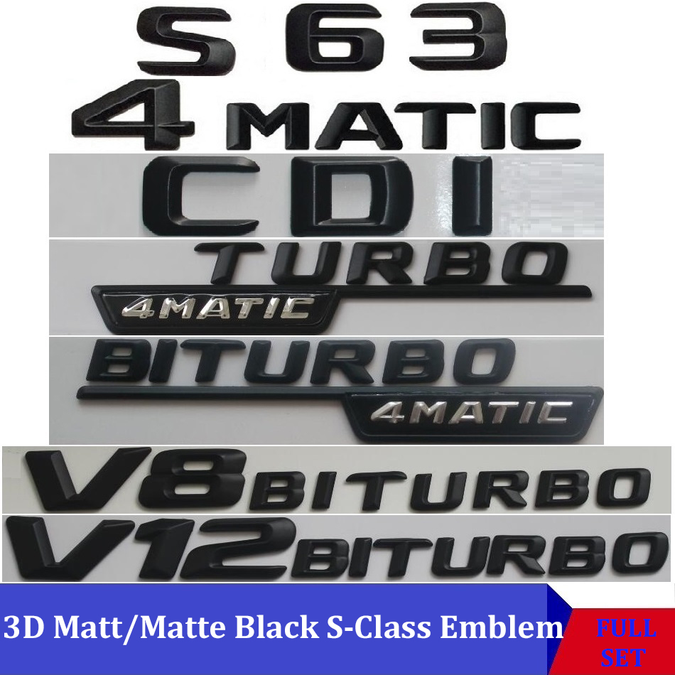 3D Matt Black W221 W222 Car Emblem S350 S320 S430 S500 S63 S65 Badge Sticker Auto 4MATIC BITURBO Star Logo For Mercedes Benz AMG