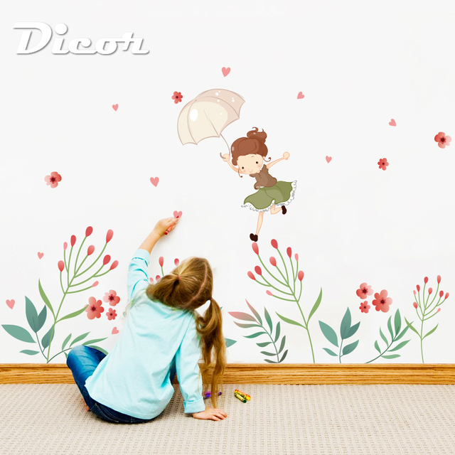 DIY Wall Stickers Flower Bud Wall Decals Girl Poster Stickers for Kids Room Home Decor Living Room Wall Decoration QTM286
