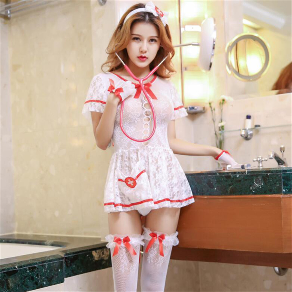 transparent Circular collar Short sleeve Nurse 39 s dress erotic bodysuit sexy lingerie bodystocking catsuit open crotch body suit in Teddies amp Bodysuits from Novelty amp Special Use