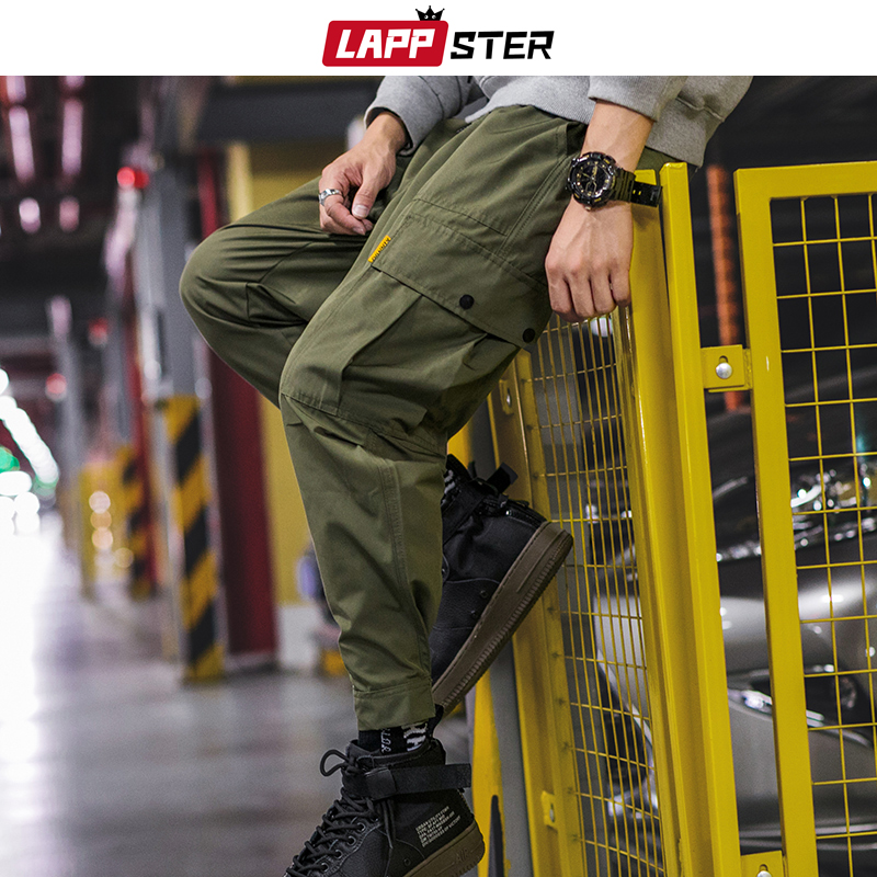 LAPPSTER Streetwear Ankel Length Joggers Pants 2019 Hip Hop Overalls Men Pocket Track Pants Mens Army Green Sweat Pants Trousers