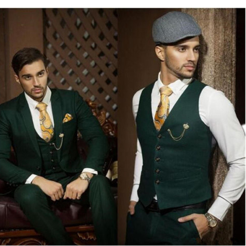 Groom Suits Vest Jacket Pants Slim-Fit Custom-Made Formal Dark-Green Fashion Men Occasion