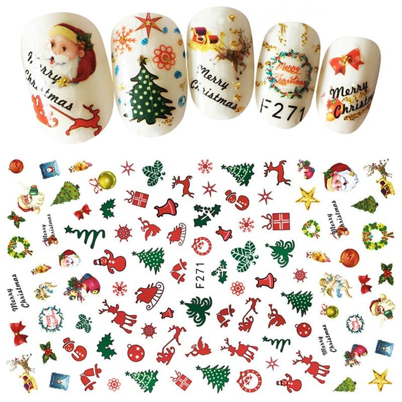 1Pcs Christmas Series 3d Adhesive Nail Stickers Decorations Snowman Boots Tress Xmas Designs Nail Beauty Tools