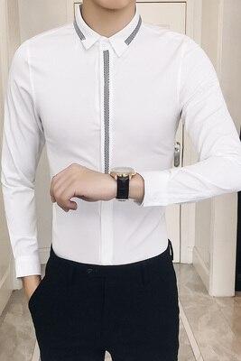 Slim Fit Men Shirt Mens Dress Shirts Men Ribbon Desig Camisa Masculina Long Sleeve Solid Color Black White Camicia Uomo 5XL Plus