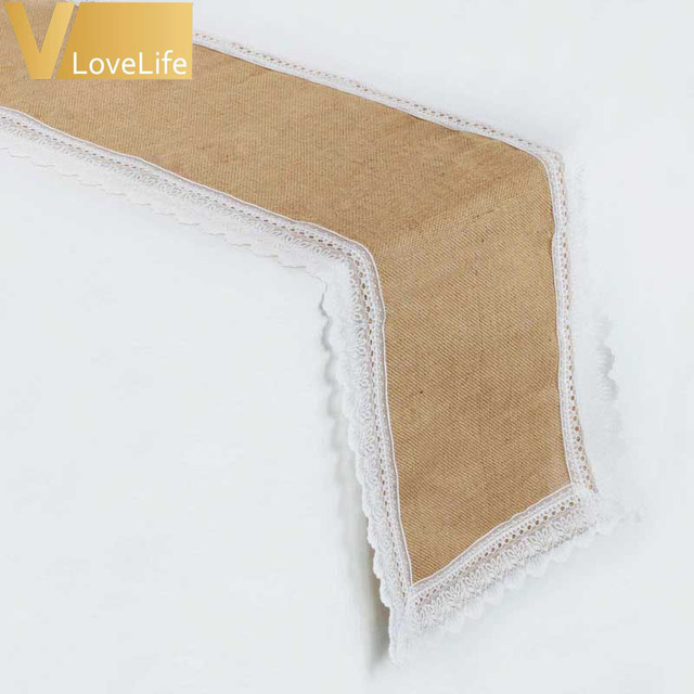 Aliexpress buy vintage burlap table runner for wedding vintage burlap table runner for wedding decoration rustic wedding table runner jute lace tablecloth wedding party junglespirit Image collections