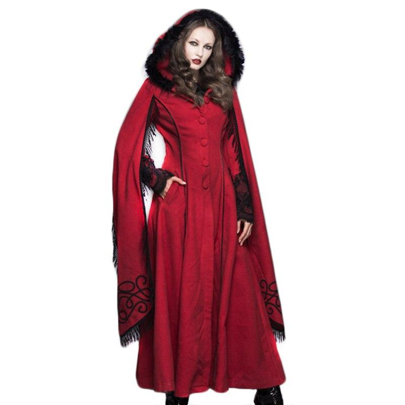 Стимпанк зимнее пальто с капюшоном Женский Готический женский длинный шерстяной плащ Труба рукава кисточка накидка ветрозащитные пальто д