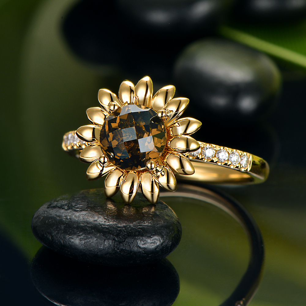 14kt Yellow Gold 0 99ct Round Cut Smoky Topaz and 0 13ct H SI Diamond Engagement