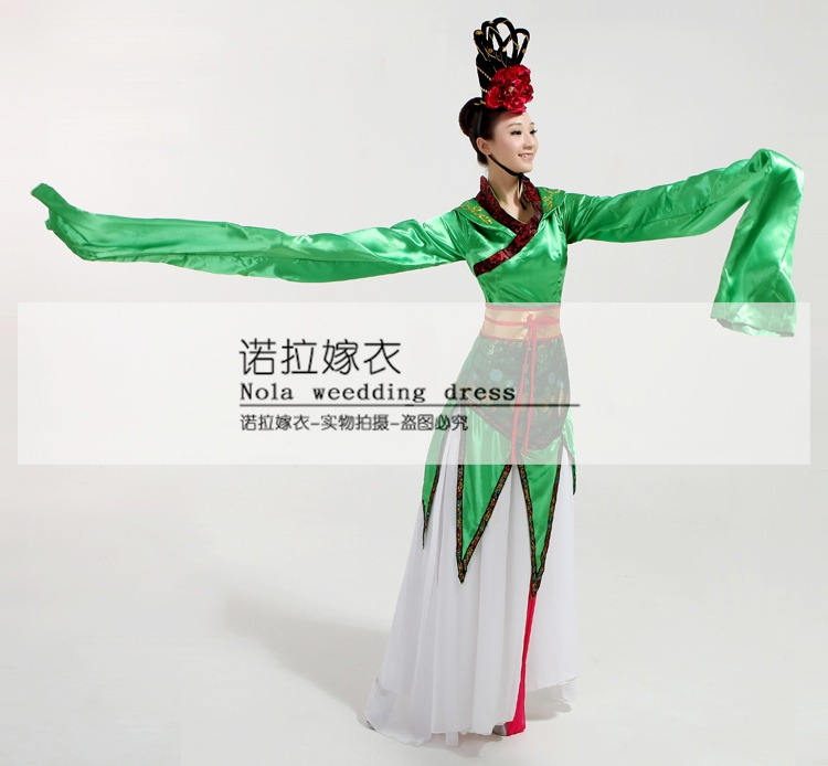 CCTV Весна фестиваль костюмы для выступлений Длинные рукава воды традиционный наряд ханьфу выщипывание стопать классический китайский тане... - 4