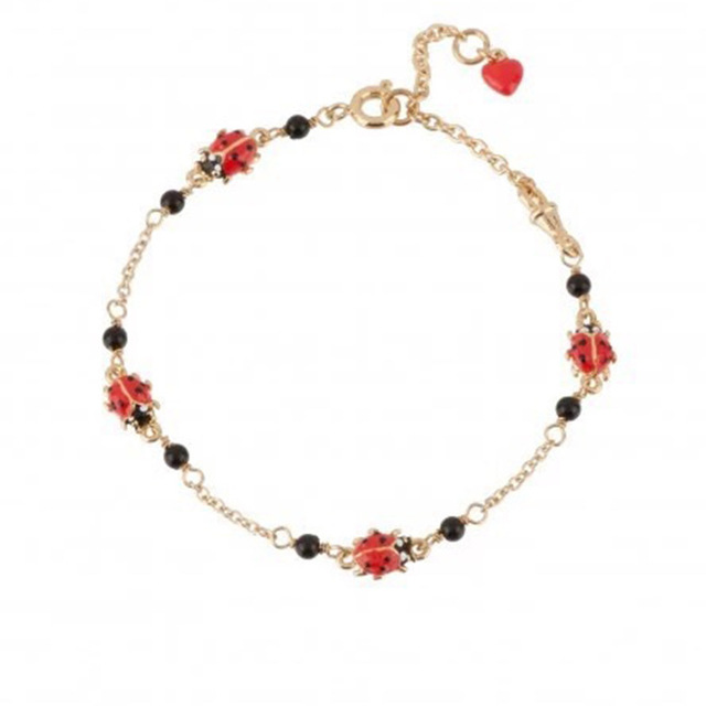 New Arrivals Insect Series Enamel Glaze Gules Ladybug Lucky Red Heart Charm Bracelet Gold Plated Women Fashion Jewelry