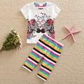 Флаг в 2016 году новый ребенок и дети мода хлопок круглым воротом с коротким рукавом Футболки девушка пачка брюки для печати бабочка TZ16003