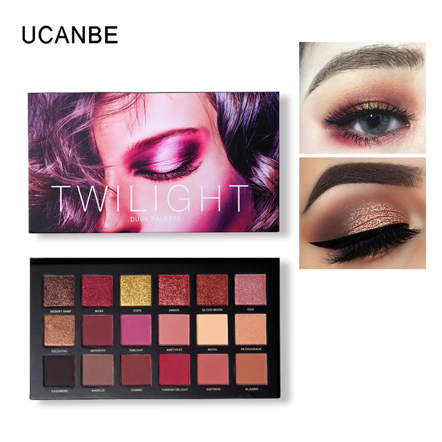 UCANBE Brand Eyes Cosmetic 18 Color Twilight & Dusk Eyeshadow Makeup Palette Shimmer& Glitter Powder Matte