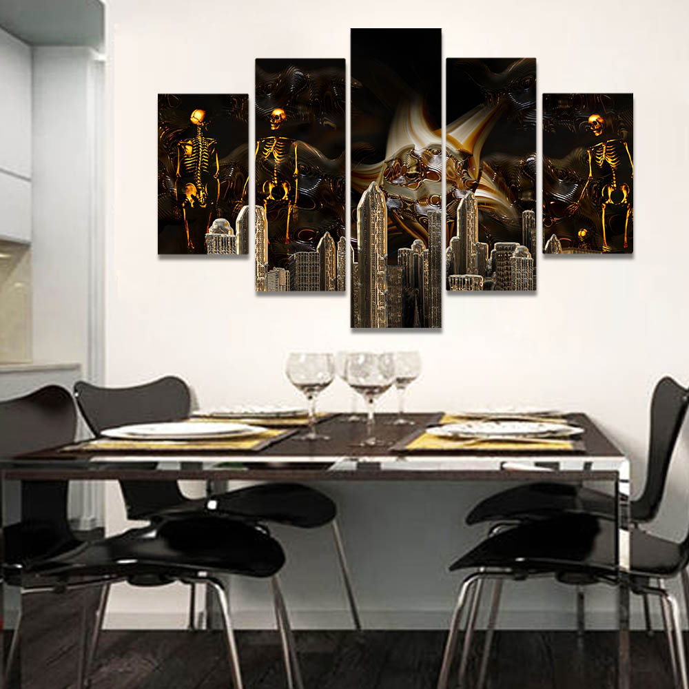 Unframed Canvas Painting Gothic Building Golden Skeleton People Prints Wall Pictures For Living Room Wall Art Decoration