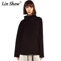 LINSHOW 2016 Jesień Na Co Dzień Luźne Golfem Pullover Kobiety Bluza Dres Przestrzeń Bawełna Street Panie Hoody
