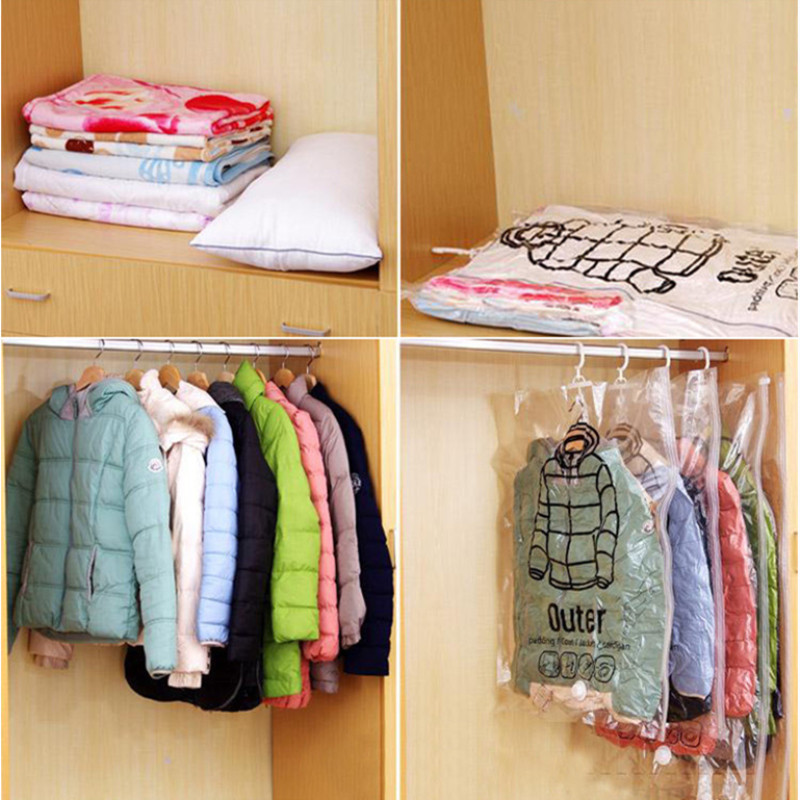 Side Pull Hanging Vacuum Compression Bag Hanging Clothes Storage Sorting Bag Clothing Dustproof Cover Portable Home Clothes Pack in Storage Bags from Home Garden