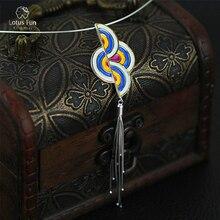Lotus Fun 925 Sterling Silver Pendant for Women Fine Jewelry Unique Rainbow Long Tassels Pendants Luxury Jewel Gift Dropshipping
