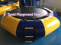 yellow and blue inflatable water sports jumping bouncer