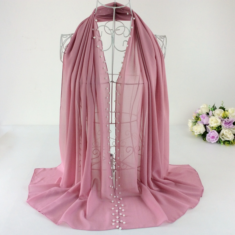Two Line Many Pearls Beads Plain Soft Bubble Chiffon Solid Women Spring Scarfs 2016 Musilim Hijab Long   Scarf     Wrap   High Quality