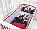 Promoción! 6 unids Mickey Mouse del lecho del bebé cuna de dibujos animados ropa de cama 100% algodón tope ( bumpers + hojas + almohada cubre )