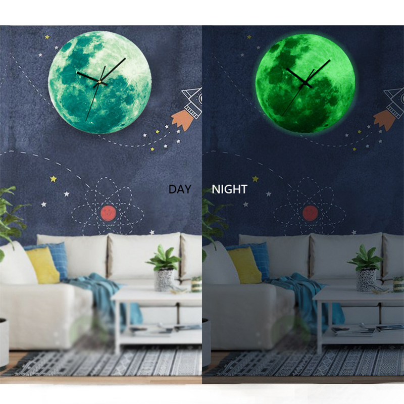 Luminous Wall Clock Creative Decoration Glowing Moon Wooden Hanging Clock Waterproof PVC 30cm Classic Green  Colorful Bedroom