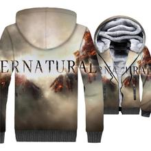 Supernatural Jacket 3D Print Hoodie Men Hip Hop Hooded Sweatshirt Winter Thick Fleece Warm Zip up Coat SPN TV Show Streetwear