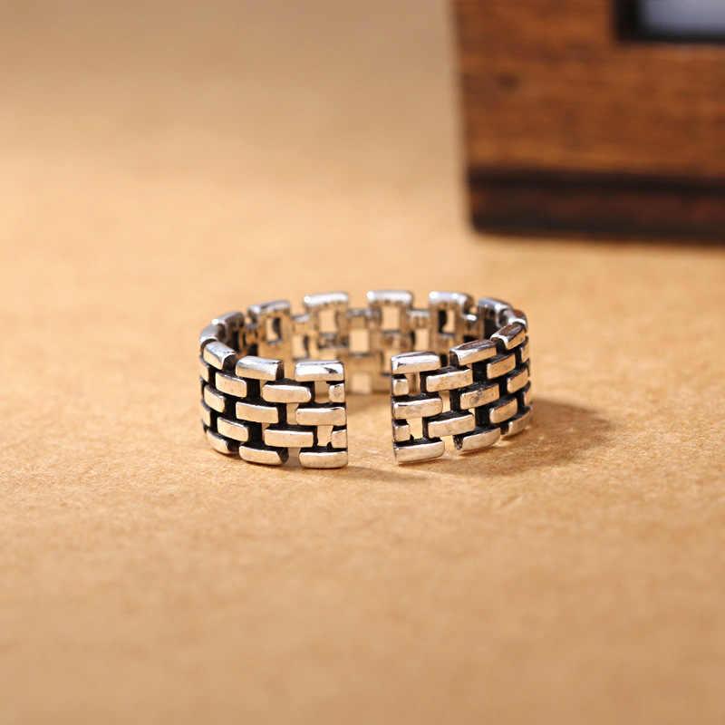 100% 925 فضة الأزياء التايلاندية فضة ريترو ستايل ladies'ring للنساء فنجر خواتم مجوهرات النساء هدية قطرة الشحن