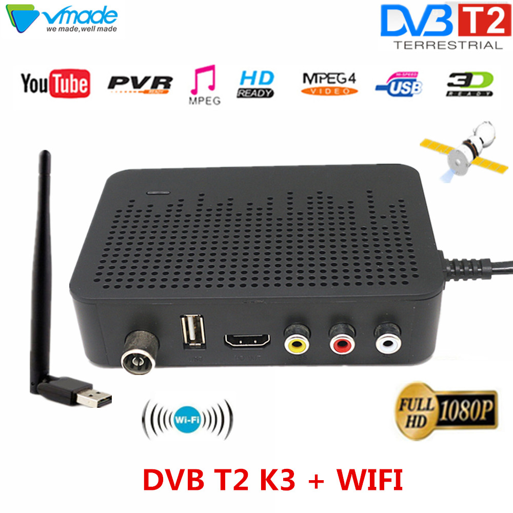 High Digital Terrestrial TV Receiver DVB T2 HDMI Support For Youtube MPEG 4 H.264 DVB TV BOX K3 With USB WIFI Dongle Set Top Box