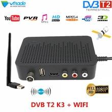 Hohe Digitalen Terrestrischen TV receiver DVB T2 HDMI unterstützung für youtube MPEG 4 H.264 DVB TV BOX K3 mit USB WIFI dongle Set top box
