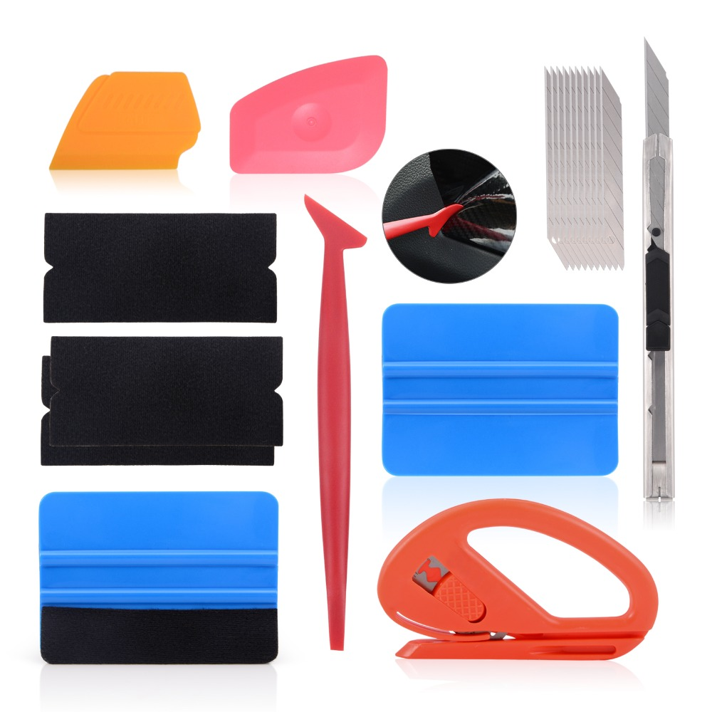 EHDIS Vinyl Car Wrap Installation Tools Kit Carbon Foil Film Wrapping Cutter Knife Squeegee Scraper Auto Sticker Accessories Kit