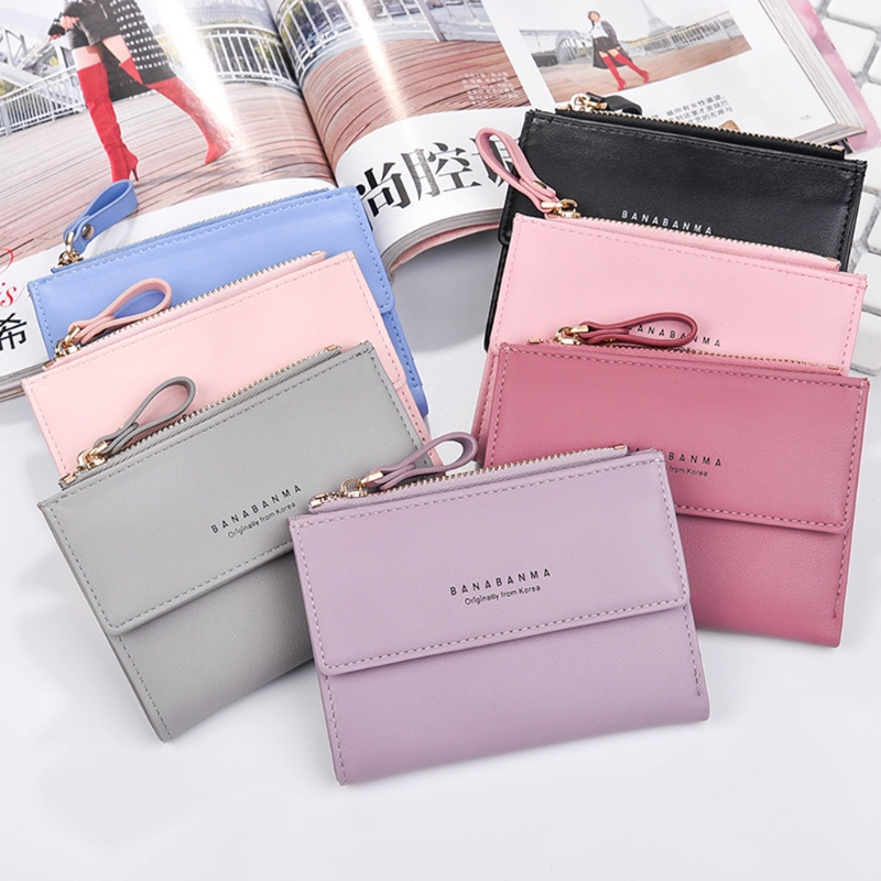 THINKTHENDO Women Girls Short Wallet Coin Purse Faux Leather Organizer Pocket Small Credit Card Holder simline fashion genuine leather real cowhide women lady short slim wallet wallets purse card holder zipper coin pocket ladies