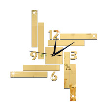 60X63CM Digital Watch Environmental Mirror Clock Restaurants Block Geometry Wall Clocks Creative 3d Wall Clock reloj pared