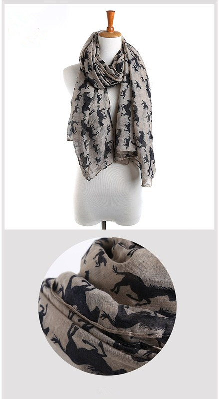 Horses Color Scarves | Lightweight Scarves